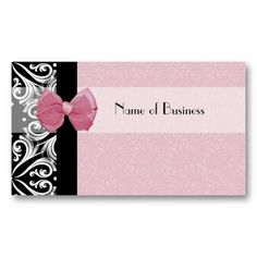 25 best girly fashion business cards images on pinterest fashion elegant parisian damask pink ribbon business card reheart Gallery