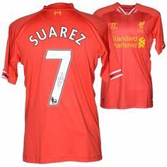 Luis Suarez Liverpool F.C. Autographed Home Red Back Jersey