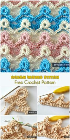 crochet stitches patterns I would like to show you another amazing stitch. I called it 'Ocean Weaves', because it looks just like the ocean surface. Also, the colors used in t Stitch Crochet, Crochet Stitches Free, Crochet Blanket Patterns, Crochet Motif, Crochet Designs, Knitting Patterns, Crochet Crafts, Easy Crochet, Crochet Projects