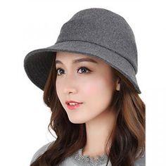 Asymmetric wool bucket hat for women elegance plain gray felt winter hats