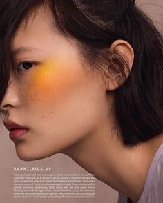 orange-yellow intense blusher. Editorial make up look, high fashion beauty.