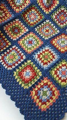 Vintage crochet granny square blanket (net 6 kleure wat gevarieer word in die blokke - Salvabrani Crochet Granny Square Afghan, Crochet Quilt, Granny Square Crochet Pattern, Crochet Squares, Crochet Blanket Patterns, Crochet Stitches, Knitting Patterns, Joining Granny Squares, Crochet Crafts