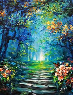 Beautiful Paintings Of Nature, Nature Paintings, Autumn Painting, Garden Painting, Landscape Artwork, Canvas Painting Landscape, Tree Art, Art Projects, Canvas Art