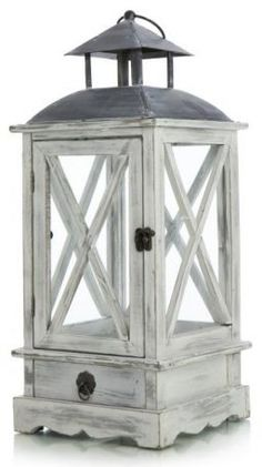 Antic white lantern, with nice details and a little drawer