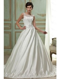 Sumptuous A-line Scoop Chapel Train Satin and Embroidery Wedding Dress