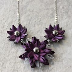Purple Necklace Silver and Purple Statement Necklace Handmade Necklace and Earring Set Purple Jewelry Gift Purple and Silver Necklace