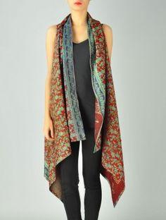 Rusty Upcycled Silk-Saree Kantha Shrug (Free Size)
