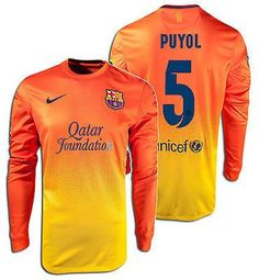 NIKE CARLES PUYOL FC BARCELONA LONG SLEEVE AWAY JERSEY 2012/13 The 2012/13 Barcelona Jersey: Team pride and tradition The 2012/13 FC Barcelona Replica Away Men's Soccer Jersey pays tribute to the Barc