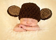 Excellent photo prop or baby shower gift!! Photographers I offer 25% off my whole shop on every order if you agree to send back photos for use in my shop!! Come look! Www.etsy.com/shop/bellamariesboutique   Monkey Hat Newborn Baby Photo Prop Great Shower Birthday gift boy girl 0-3 toddler 3-6 6-12 child