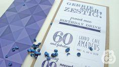 PARTY GERRIE   Voor Gerrie haar 60ste verjaardag, wilde ze graag een groot feest geven met al haar vrienden en familie om zich heen. De aankondiging kwam met een mooie uitnodiging vooraf. De voorzijde typografisch, de achterzijde een grafisch patroon in verschillende blauwtinten. www.studionica.nl