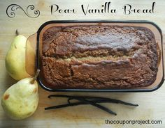 Pear Vanilla Bread - good. Only changes I made was I only put 1 cup of pear ( which I had frozen with skin in freezer) and 1 banana and added 1 TBSP vanilla extract. Cooked at 350 for 50 mins then shut off oven and let it sit for 10 mins. - love MOJO