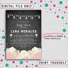 """Baby Shower Invitation """"Chalkboard Florals"""" (Printable FIle Only) Flowers Mason Jar Lights Vintage Rustic Fun Country Chic Pink It's A Girl"""