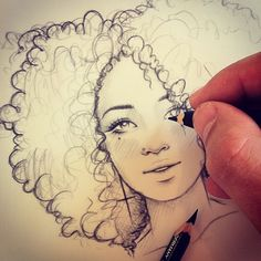 Drawing curly hair is hard. Taking a decent photo of yourself drawing curly hair is near impossible!
