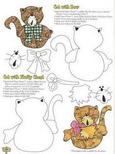ARTE COM QUIANE - Paps,Moldes,E.V.A,Feltro,Costuras,Fofuchas 3D: Molde gato