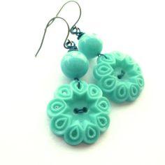 Bright Turquoise Aqua Pierced Flower Vintage Button Dangle Earrings - Shabby Chic. $12.00, via Etsy.