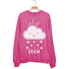 batch1 Let It Snow Novelty Christmas Xmas Festive Womens Sweatshirt... (580 ARS) ❤ liked on Polyvore featuring tops, hoodies, sweatshirts, shirts, sweaters, pink, women's clothing, shirt top, pink shirts and christmas tops