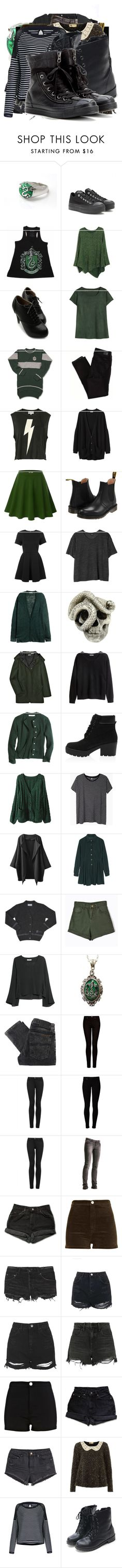 """""""Rose Potter"""" by grandmasfood ❤ liked on Polyvore featuring Converse, Ollio, American Eagle Outfitters, Wildfox, Organic by John Patrick, Doublju, Dr. Martens, Topshop, Monki and H&M"""