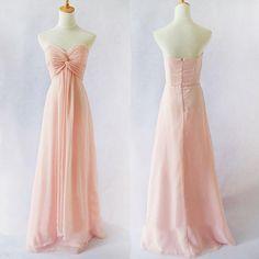 Peach Long Prom Dress,Strapless Sweetheart Chiffon Zipper Floor Length Long Women Formal Bridesmaid Dress,Long Evening Gown Dress