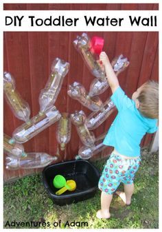 Older kids could build their own! Adventures of Adam DIY Toddler Water Wall. Easy to make water wall using recycled plastic bottles. Great for toddler outside play. Kids Outdoor Play, Outdoor Learning, Outdoor Play Spaces, Outdoor Games, Toddler Play, Baby Play, Toddler Games, Infant Activities, Activities For Kids