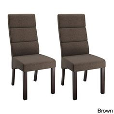 CorLiving Antonio Beige Upholstered Tall-back Dining Chairs (Set of 2) Brown