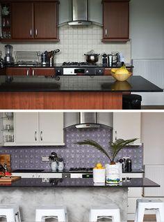 Avant / Après : relooking d'une cuisine avec du carrelage adhésif pour la crédence