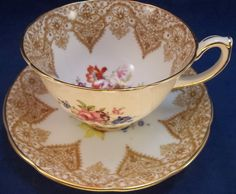 Hammersley Tea Cup Saucer Set Bone China England 2877/1 Gold Multi Flowers picclick.com