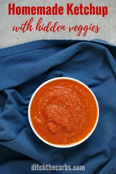Watch the quick video to see how easy it is to make homemade ketchup with hidden vegetables. No sugars, no preservatives and super healthy. | ditchthecarbs.com via @ditchthecarbs