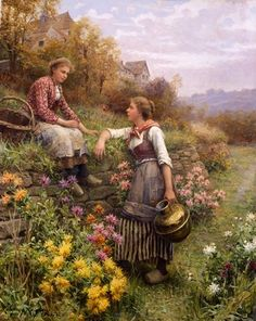 Daniel Ridgway Knight Gossips painting is available for sale; this Daniel Ridgway Knight Gossips art Painting is at a discount of off. Paintings I Love, Beautiful Paintings, Art Paintings, Art Ancien, Knight Art, Oil Painting Reproductions, Fine Art, Renoir, Oeuvre D'art