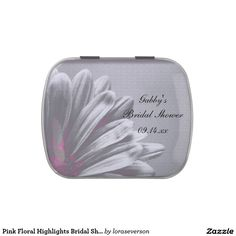 Pink Floral Highlights Bridal Shower Favor Jelly Belly Candy Tin