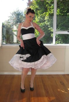 Navy Pin up Dress in 1950s Full Skirted Style by PixiePocket, $270.00