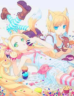 Anime girls, , blonde hair, , green eyes, , blue eyes, , long hair, , twin tails, , short hair, , cat ears, , cat tail, , neko, , sweets, , cake, , long tights