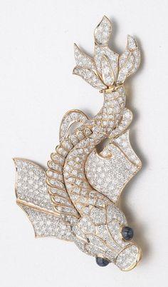 DIAMOND AND SAPPHIRE FISH BROOCH