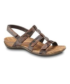 Take a look at this Brown Snake Yasmin Sandal by Orthaheel on #zulily today! $38.99, regular 80.00. Cute orthopedic sandals. GREAT for when feet swell up during pregnancy. The only shoes I wore the last trimester of pregnancy! Feel wonderful. GREAT buy for only $38.99. I spent 80!