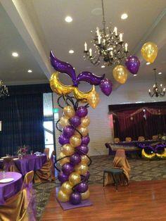Mardi Gras Sweet 16 Theme Balloons
