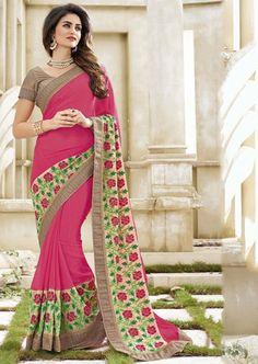 Charming Cherry Pink and Cream #Designer #Saree
