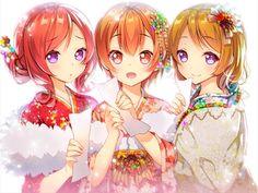 Anime girls in a kimono