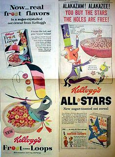 """60s Cereal Ads. Tony the Tiger said of sugar frosted flakes """"they're Great""""!"""