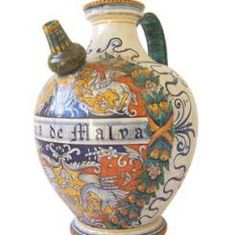 """1-H PHARMACY PITCHER-3: GROTTESQUE: 16"""" (40cm) High.    This Piece is hand painted in Deruta.    #Art #Vail #Gubbio #Umbria #Deruta #Italy #Dinnerware #Tuscany #Majolica #Renaissance #Decor"""