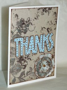 Set of 3 Soft Brown and Blue Floral Thank You Cards by jenboothe, $6.00