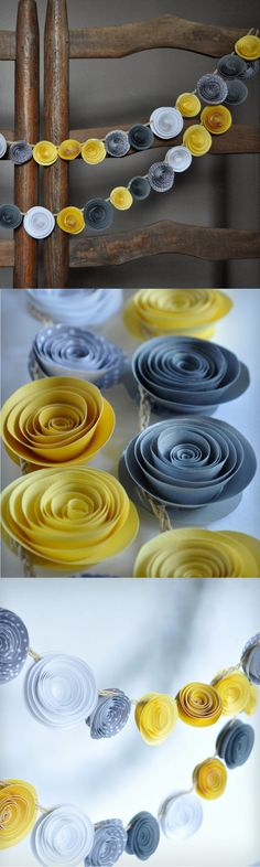 DIY idea :: simple paper garland : colorful paper rolled flowers on a string