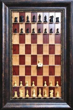 framed chess set for the wall. the art of the game.,, This could be a fun paper challenge