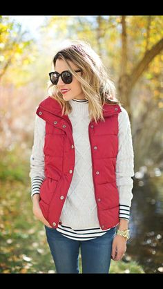 Stitch Fix Winter Fashion! Red puffer vest, layered with cashmere cream sweater, striped turtle neck and jeans.