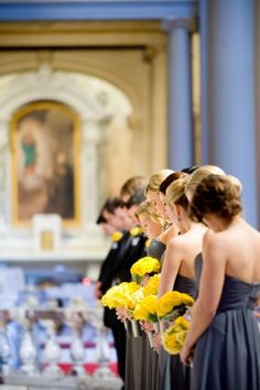 Yellow bridesmaids bouquets | event and floral design by http://www.nancyliuchin.com/| photography by http://www.mulberryphoto.com/