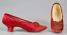 Evening slippers Date: 1875–85 Culture: French Medium: Silk, beads Credit Line: Brooklyn Museum Costume Collection at The Metropolitan Museu...