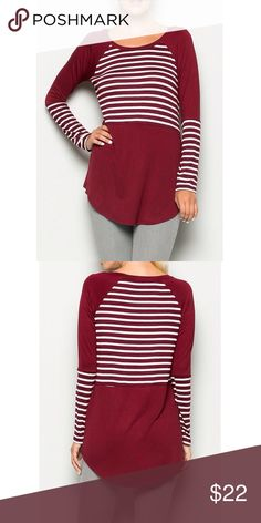 Burgundy Long Sleeve Top with Stripes 95% Rayon 5% Spandex. Also available in Olive and Navy colors. Tops