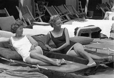 Raucous lunches: the Mitford sisters, Nancy and Deborah, left, in Venice