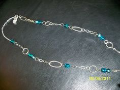 turquoise glass bead chain necklace