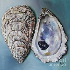 Oyster Shells by Kristine Kainer Oyster Shells by Kristine Kainer<br> This painting was commissioned by a client in Annapolis, Maryland and depicts both the colorful, smooth inner and rough, layered outer shells of a Cheseapeake Bay oyster. Oyster Shells, Sea Shells, Art Mini Toile, Turtle Painting, Shell Painting, Frog Drawing, Seashell Art, Seashell Crafts, Carapace