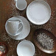 Kamal Snow Dots Dinnerware | west elm