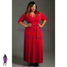 a96a632e92d New Plus Size Long Dress with Front Faux Wrap in Red available at http